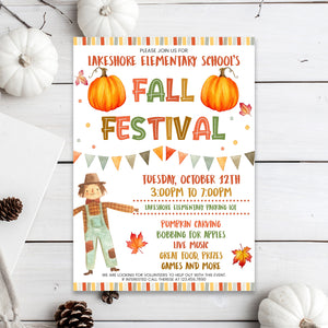 Editable Fall Festival Invitation, School Fall Harvest Invite, Community Halloween Event, Church School Halloween Party, Fall Festival