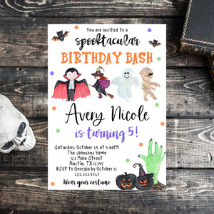 Editable Halloween Birthday Invitation, Halloween Costume Party Invite, Halloween Costume Birthday Invitation, Spooky Halloween Invitation