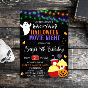 Editable Halloween Movie Night Birthday Invitation, Backyard Halloween Movie Night, Halloween Invitation, Halloween Birthday Invitation