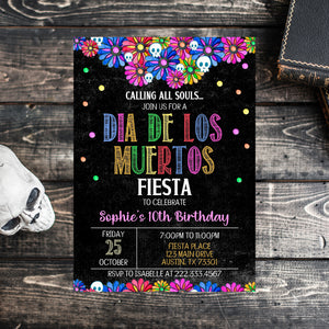 Editable Halloween Dia De Los Muertos Birthday Invitation, Halloween Invitation, Day of the Death Birthday Invite, Calling all Souls Invite