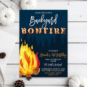 Editable Fall Backyard Bonfire Birthday Invitation, Fall Harvest Bonfire Invite, Fall Bonfire Invite, Autumn Thanksgiving Invitation