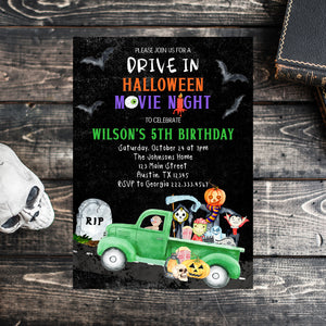 Editable Halloween Drive in Movie Night Birthday Invitation, Drive by Halloween Movie Night, Halloween Invite, Halloween Birthday Invitation