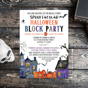 Editable Halloween Block Party Invitation, Halloween Party Invite, Halloween Invitation, Spooktacular Block Party, Spooky Invitation