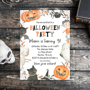 Editable Halloween Birthday Party Invitation, Halloween Birthday Invite, Halloween Invitation, Spooktacular Birthday, Spooky Invitation Price: