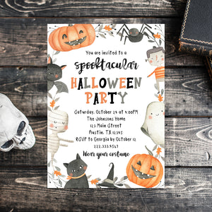 Editable Halloween Birthday Party Invitation, Halloween Birthday Invite, Halloween Invitation, Spooktacular Birthday, Spooky Invitation