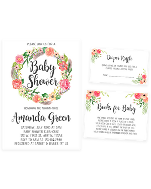 Cheers Bundle: Floral Baby Shower Invitation Pack