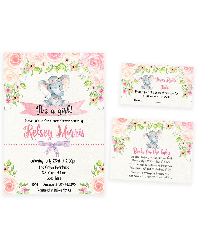 Cheers Bundle: Blush Pink Floral Elephant Baby Shower Invitation Pack