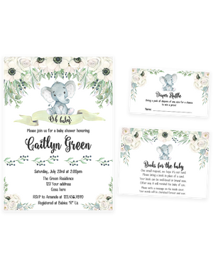 Cheers Bundle: White Floral Gender Neutral Elephant Baby Shower Invitation Pack