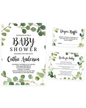 Cheers Bundle: Greenery Foliage Baby Shower Invitation Pack