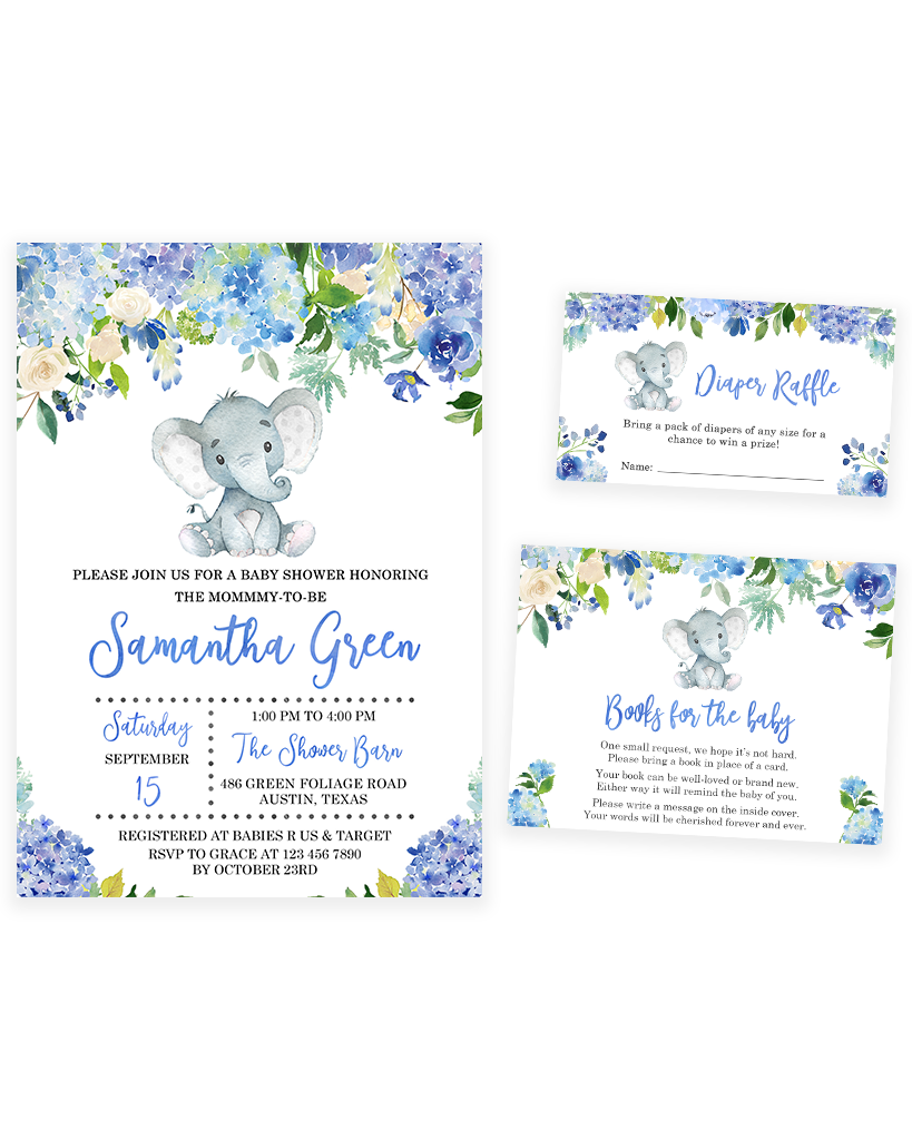 Cheers Bundle: Blue Elephant Floral Baby Shower Invitation Pack