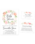 Cheers Bundle: Peach and Pink Floral Baby Shower Invitation Pack