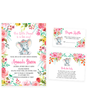 Cheers Bundle: Colorful Floral Elephant Baby Shower Invitation Pack
