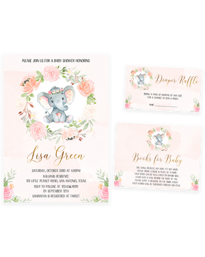 Cheers Bundle: Pink Ink Floral Elephant Baby Shower Invitation Pack