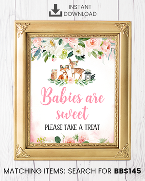 Blush Pink Floral Woodland Babies Are Sweet Printable Sign