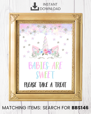 Silver Floral Unicorn Babies Are Sweet Printable Sign
