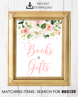 Blush Pink Floral Books And Gifts Printable Sign