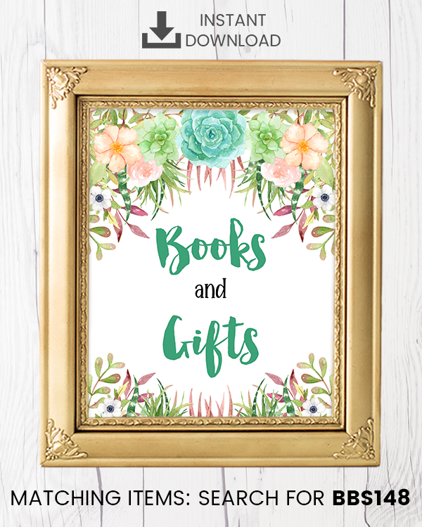 Succulent Books And Gifts Printable Sign