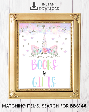 Silver Floral Unicorn Books and Gifts Printable Sign