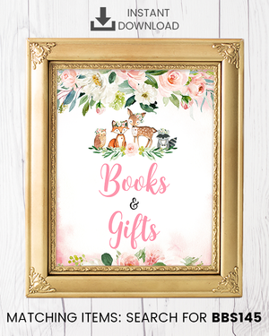 Blush Pink Floral Woodland Books and Gifts Printable Sign
