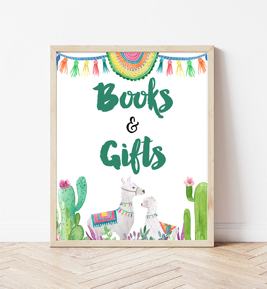 Fiesta Llama Books And Gifts Printable Sign