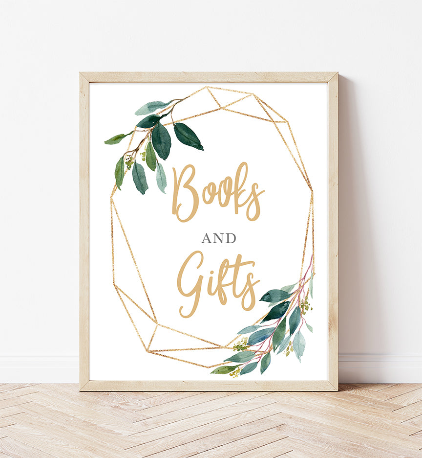 Greenery Geometric Books And Gifts Printable Sign