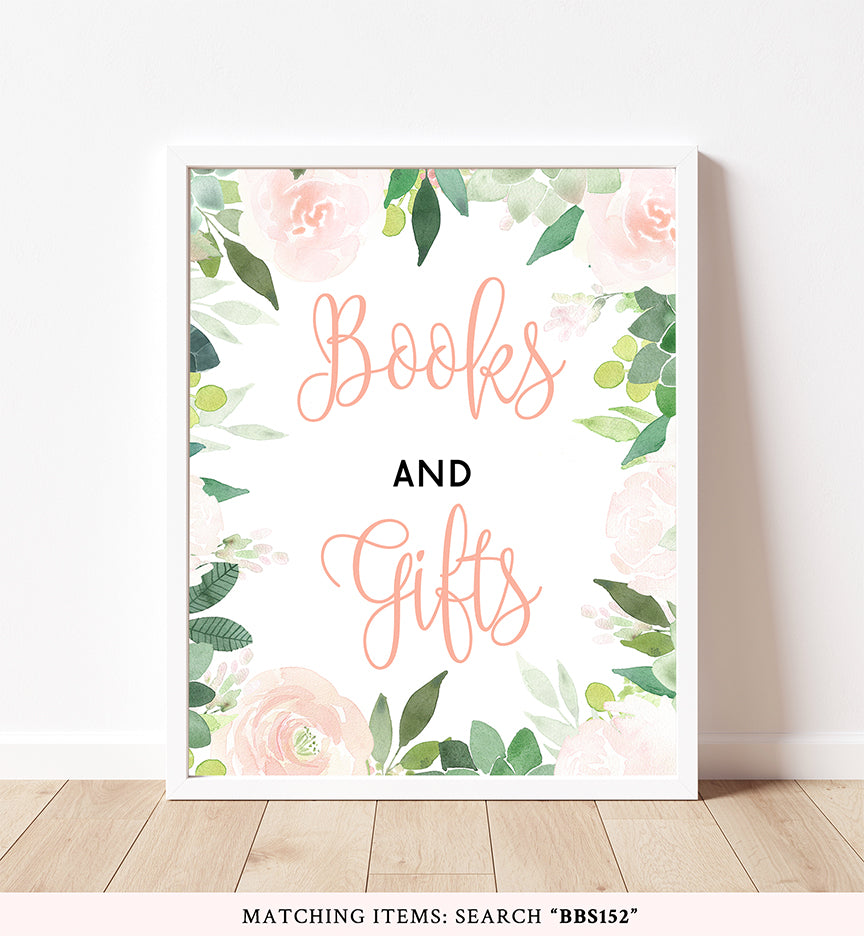 Floral Succulent Books And Gifts Printable Sign