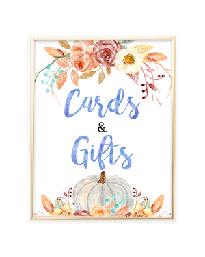 Fall Pumpkin Blue and Orange Floral Cards and Gifts Sign
