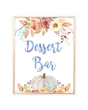 Fall Pumpkin Blue and Orange Floral Dessert Bar Sign