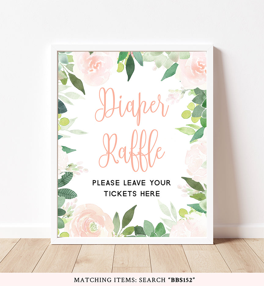 Floral Succulent Diaper Raffle Printable Sign