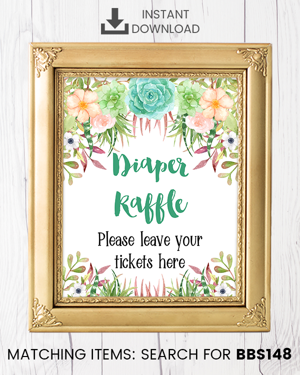 Succulent Diaper Raffle Printable Sign
