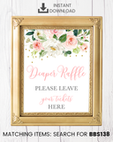 Blush Pink Floral Diaper Raffle Printable Sign