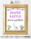 Purple Llama Diaper Raffle Printable Sign