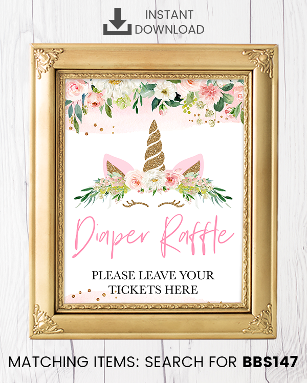 Blush Pink Floral Unicorn Diaper Raffle Printable Sign