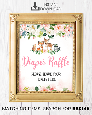 Blush Pink Floral Woodland Diaper Raffle Printable Sign