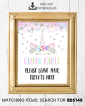 Silver Floral Unicorn Diaper Raffle Printable Sign