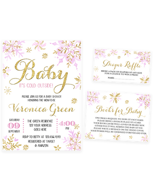 Cheers Bundle: Pink and Gold Winter Baby It's Cold Outside Baby Shower Invitation Pack