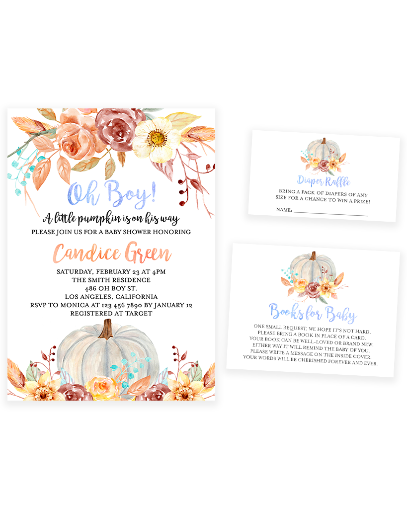 Cheers Bundle: Fall Pumpkin Blue and Orange Floral Baby Shower Invitation Pack
