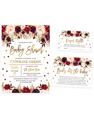 Cheers Bundle: Marsala and Gold Floral Baby Shower Invitation Pack