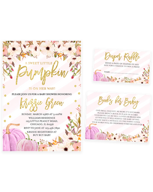 Cheers Bundle: Pink and Gold Pumpkin Floral Baby Shower Invitation Pack