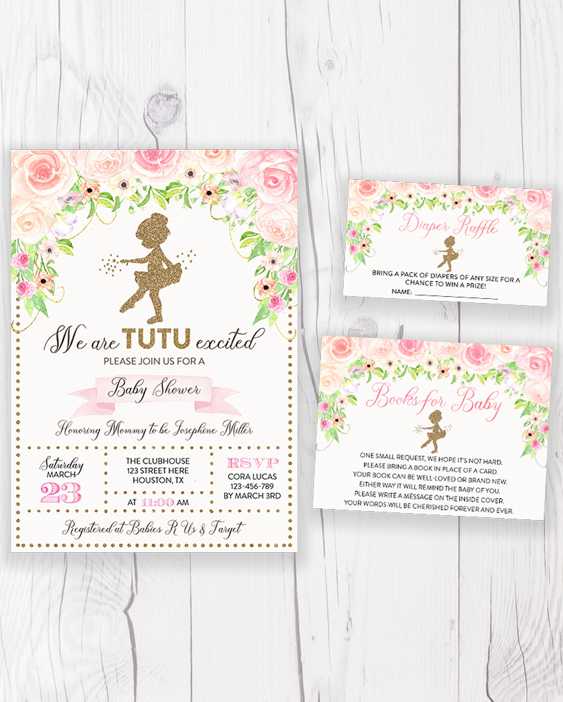 Cheers Bundle: Pink and Gold Floral Tutu Ballerina Baby Shower Invitation Pack
