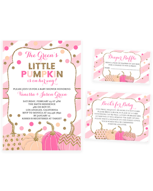 Cheers Bundle: Pink and Gold Pumpkin Baby Shower Invitation Pack