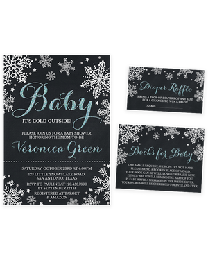 Cheers Bundle: Chalkboard Blue Winter Baby It's Cold Outside Baby Shower Invitation Pack