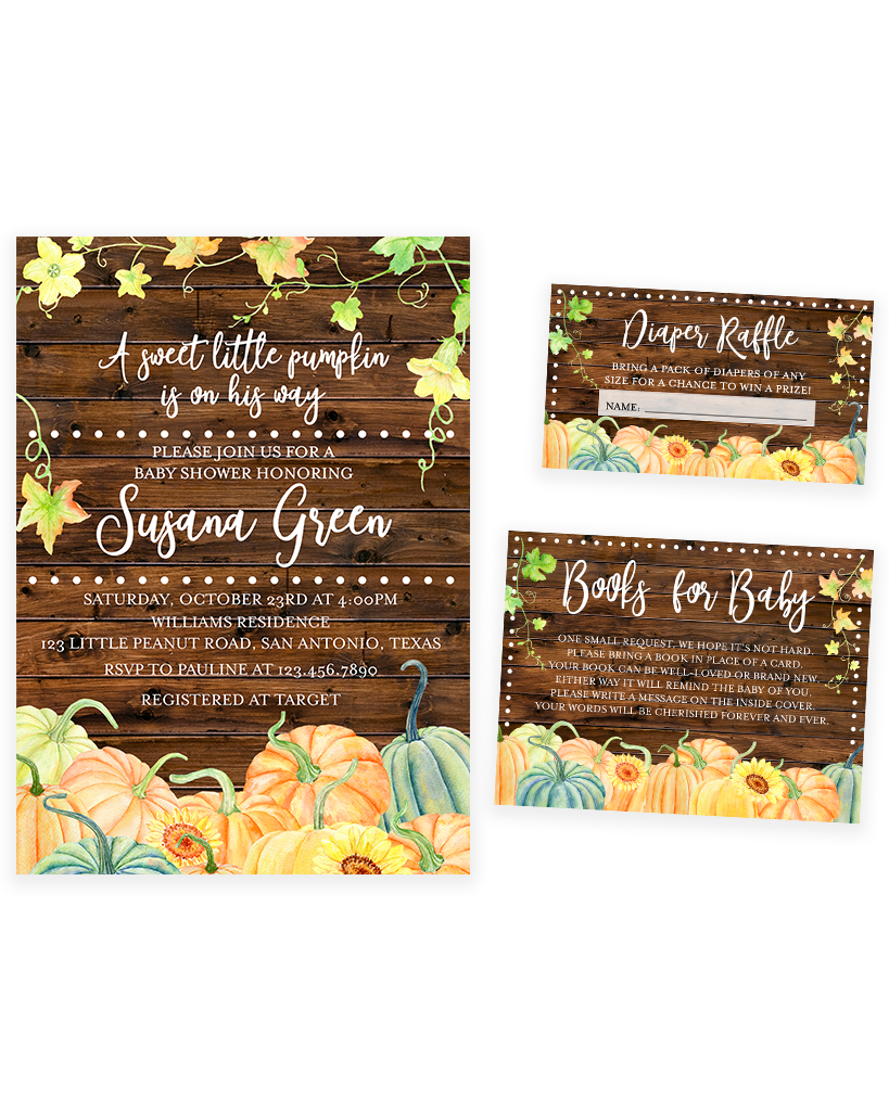 Cheers Bundle: Rustic Pumpkin Fall Baby Shower Invitation Pack