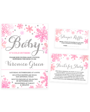 Cheers Bundle: Pink and Silver Winter Baby It's Cold Outside Baby Shower Invitation Pack