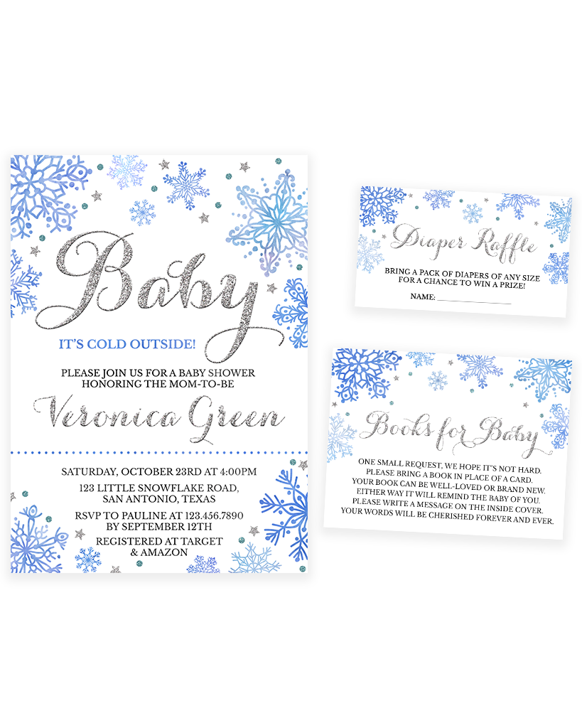 Cheers Bundle: Blue and Silver Winter Baby It's Cold Outside Baby Shower Invitation Pack