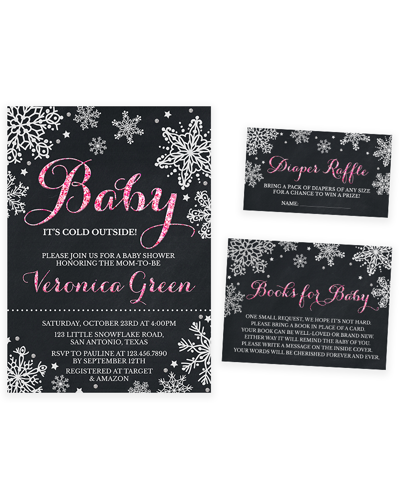 Cheers Bundle: Chalkboard Pink Winter Baby It's Cold Outside Baby Shower Invitation Pack