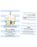 Cheers Bundle: Blue Pumpkin Floral Baby Shower Invitation Pack