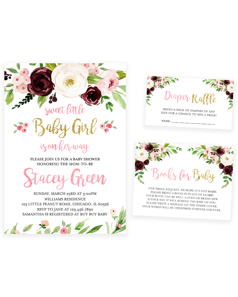 Cheers Bundle: Marsala and Blush Pink Floral Baby Shower Invitation Pack