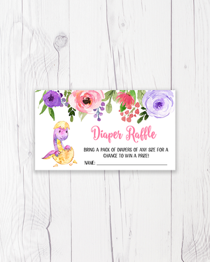 Purple and Pink Dinosaur Diaper Raffle