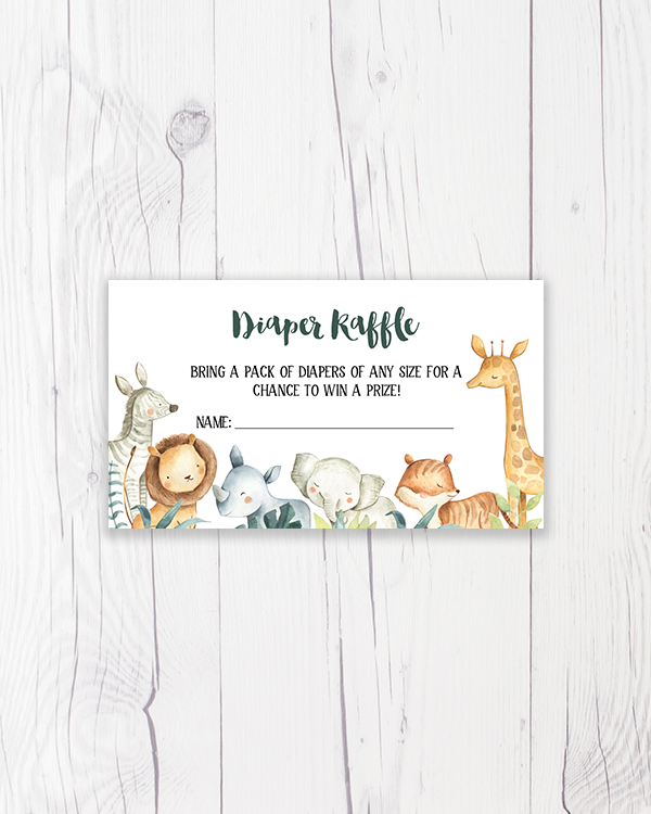 Safari Animals Diaper Raffle